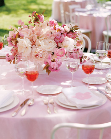 Cherry blossom wedding floral table centerpiece