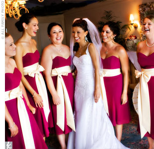 Cherry blossom wedding bride and bridesmaid
