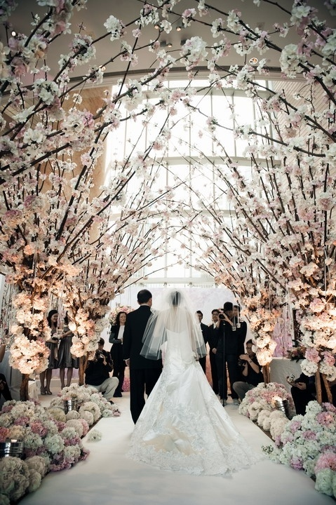 Cherry blossom wedding ceremony