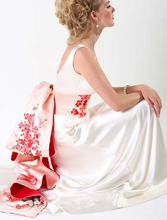 Cherry blossom woman on wedding dress sideview