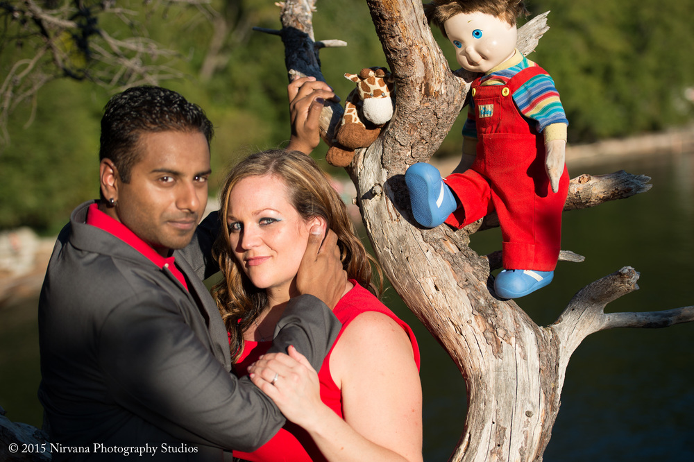 Jenn and Darryl engagement photo with stuffed animals