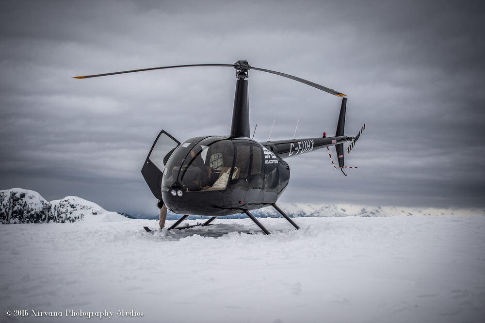 Helicopter landing on a snow