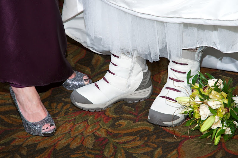 bride and groom winter footwear