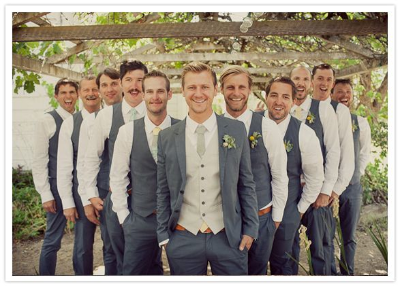Groom and groomsmen in tuxedo